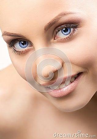 Closeup portrait of a beautiful  woman