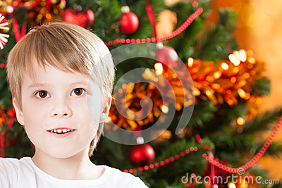 Closeup portrait of boy in Christmas