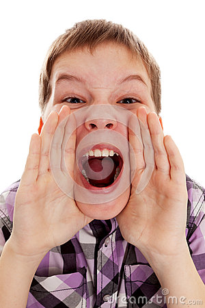 CLOSEUP OF A BOY SCREAMING OUT LOUD