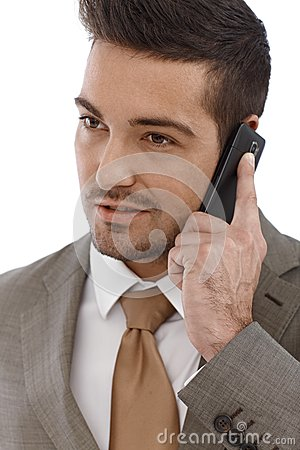 Closeup portrait of businessman on phone call