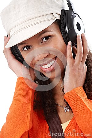 Closeup portrait of casual woman with earphones