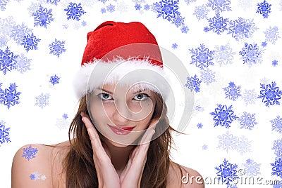 Closeup portrait of emotional girl in santa hat