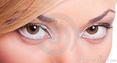 Closeup portrait of feminine eyes