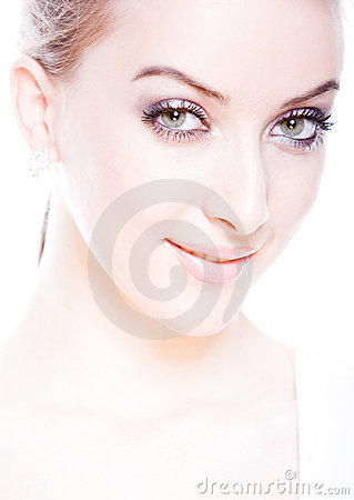 Closeup portrait of fresh and smiling woman