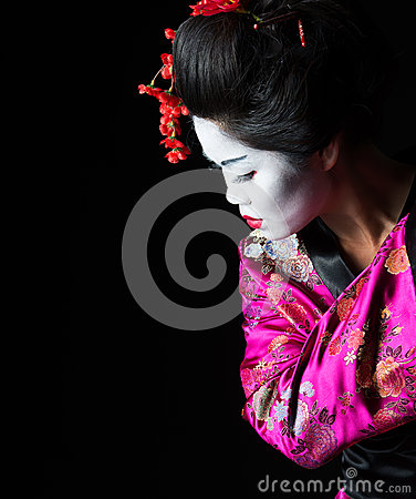 Closeup portrait of geisha