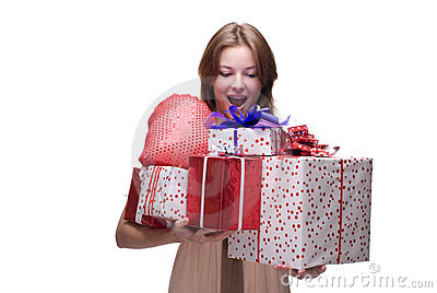 Closeup portrait of girl with some gifts