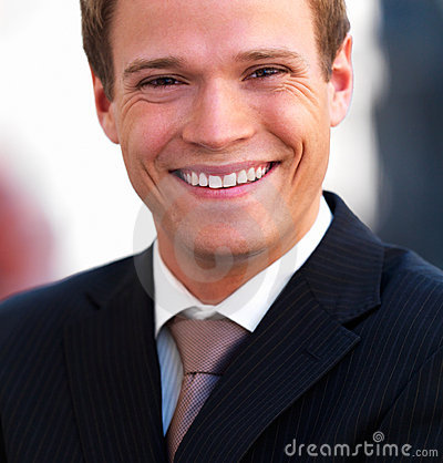 Closeup portrait of a handsome young businessman