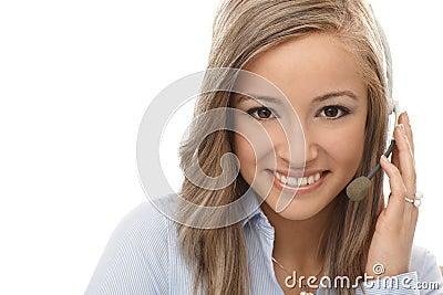 Closeup portrait of happy dispatcher