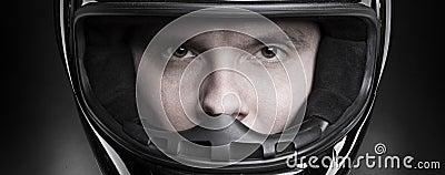 Closeup portrait of a man in helmet