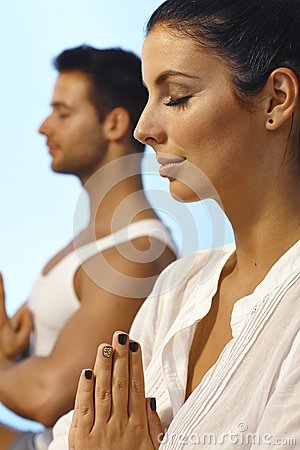 Closeup portrait of meditating woman