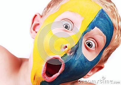 Closeup portrait screaming football fan
