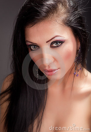 Closeup portrait of sensual woman with nice eyes