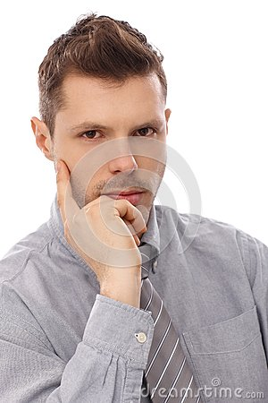 Closeup portrait of serious man
