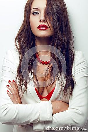 Closeup portrait of sexual brunette woman