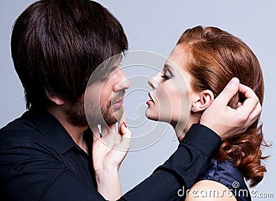 Closeup portrait of sexy couple in love.