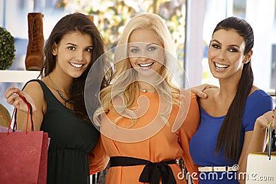 Closeup portrait of shopping beauties