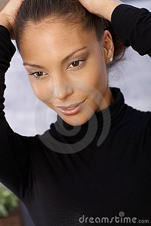 Closeup portrait of smiling afro-american woman