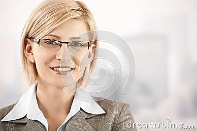 Closeup portrait of smiling businesswoman