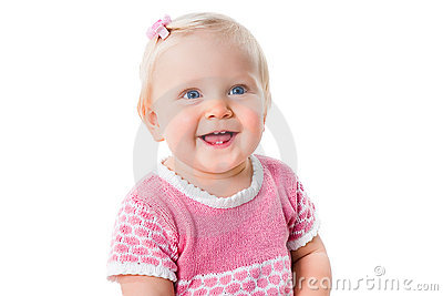 Closeup portrait of smiling infant girl isolated