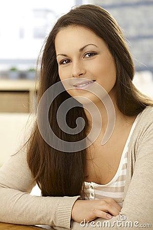 Closeup portrait of smiling woman