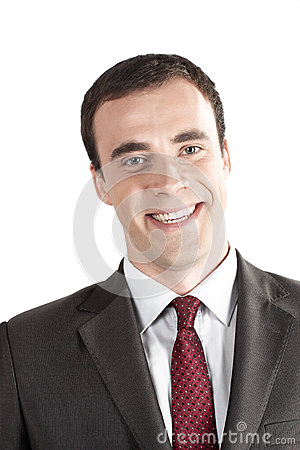 Closeup portrait of smiling young business man