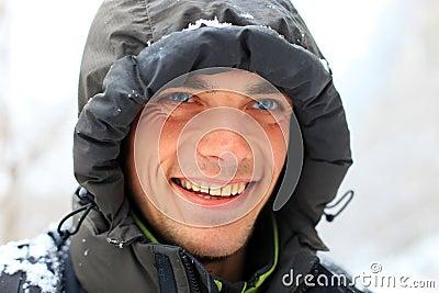 Closeup portrait of smiling young man