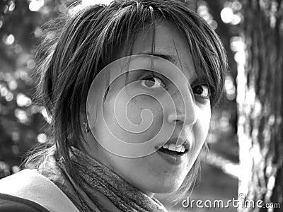 Closeup portrait of a wondering girl
