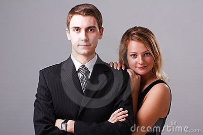 Closeup portrait of young business couple
