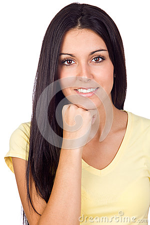 Closeup Portrait of a Young Casual Girl