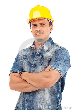 Closeup portrait of a young man with hardhat