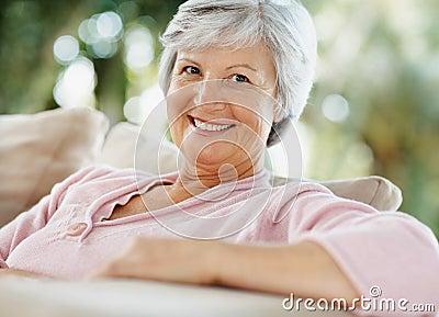 Closeup of a pretty senior woman