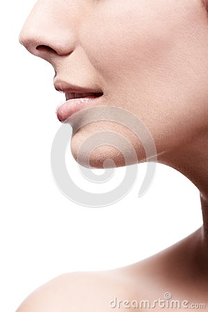 Closeup profile of female s nose and lips