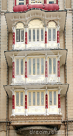 Closeup of the protruding windows, Mysore palace