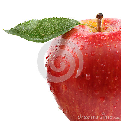 Free Closeup Red Apple Fruit With Leaf Isolated Royalty Free Stock Photo - 57605895