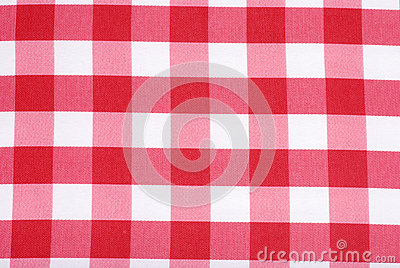 Closeup Red and white tablecloth