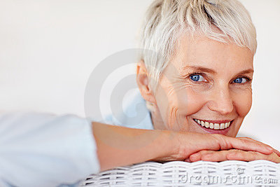 Closeup of a retired old woman with a lovely smile