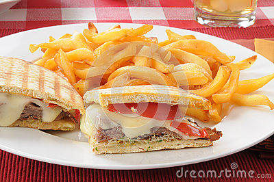Closeup of a roast be3ef and swiss panini