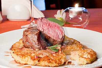 Closeup of a Rossini veal