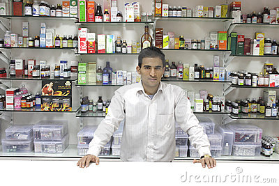 Closeup of a salesman of a medical store Editorial Stock Image