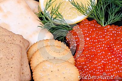 Closeup for caviar appetizer