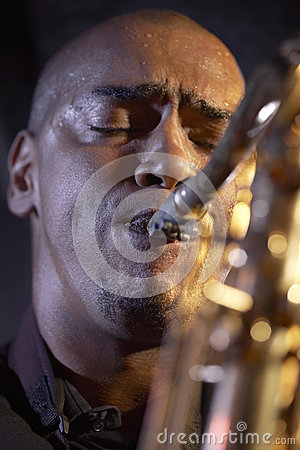 Closeup Of Saxophone Player