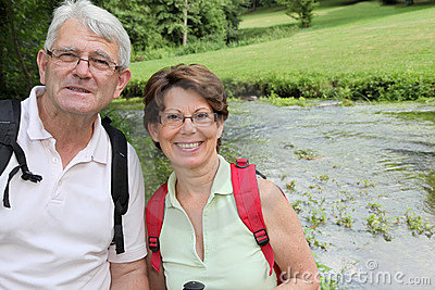 Closeup of senior couple on a rambling day