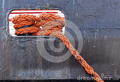 Closeup on the ship s rope