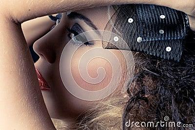 Closeup shot of a beautiful caucasian woman