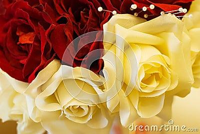 Closeup Silk Flower Bridal Bouquet