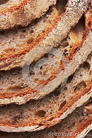 Closeup of sliced bread
