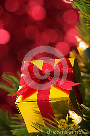 Closeup of small gift on Christmas tree.(vertical)