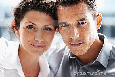 Closeup of a smiling mature couple in love