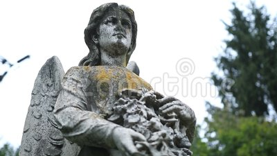 Closeup statue of angel holding wreath at cemetery stock video footage