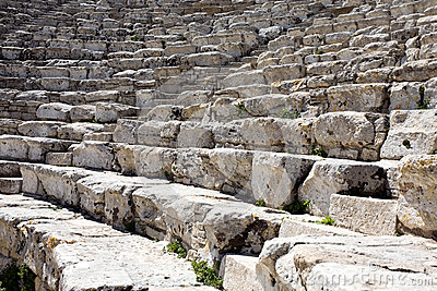 Closeup of steps of ancient Greek amphitheatre